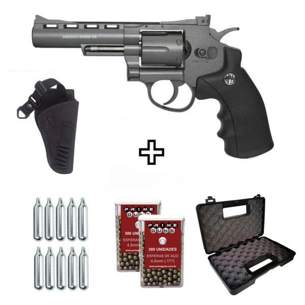 Revólver Airgun Rossi M701 Full Metal Co2 4,5mm Kit + Coldre