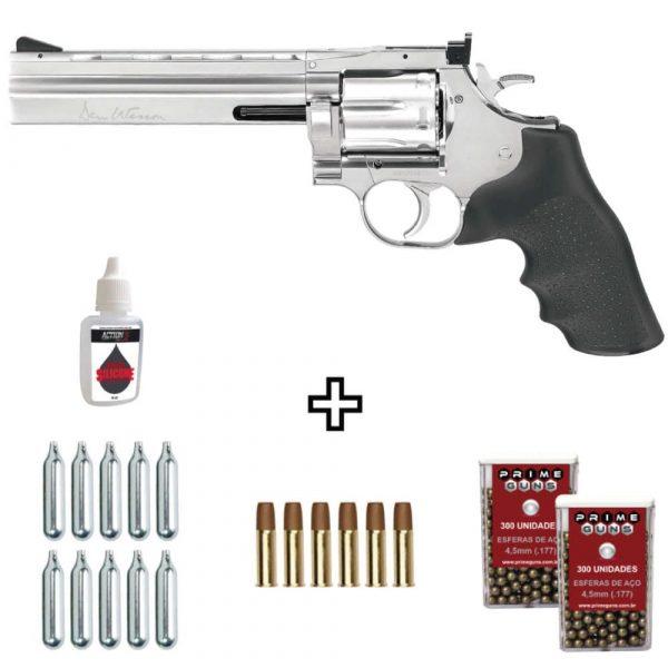 Revólver Dan Wesson 715 Cromado 4,5mm Full Metal + Cápsulas