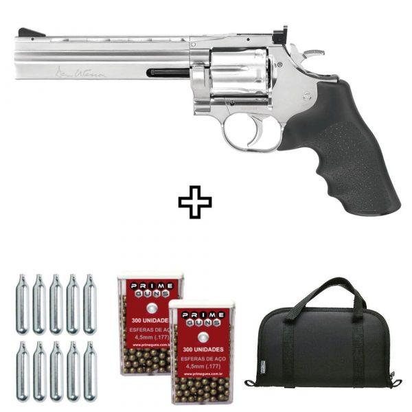 Revólver Airgun Dan Wesson 715 6″ Cromado 4,5mm + Case