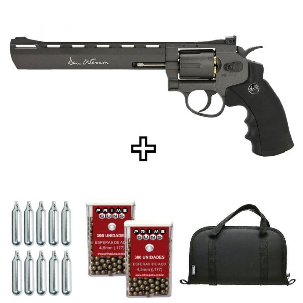 Revólver Dan Wesson 8″ Black Co2 Full Metal 4,5mm + Case