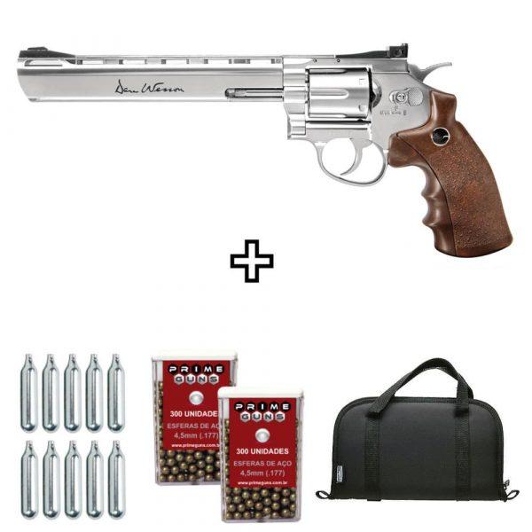 Revólver Dan Wesson 8″ Cromado Co2 4,5mm Metal + Case