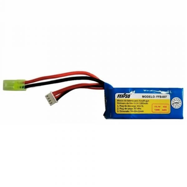 Bateria Lipo 11.1v 1300mAh 15c FFB-007 Feasso