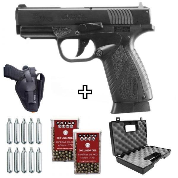 Pistola Airgun Bersa BP9CC Blowback Metal 4,5mm Co2 Kit com Coldre