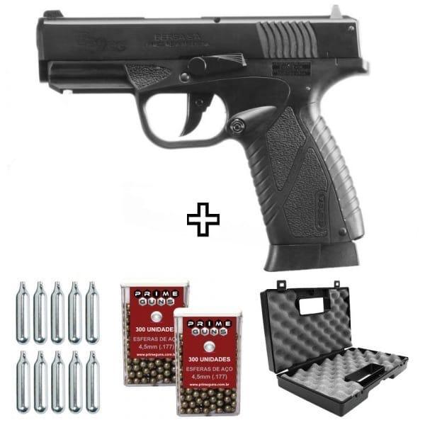 Pistola Airgun Bersa BP9CC Blowback Metal 4,5mm Co2 KIT