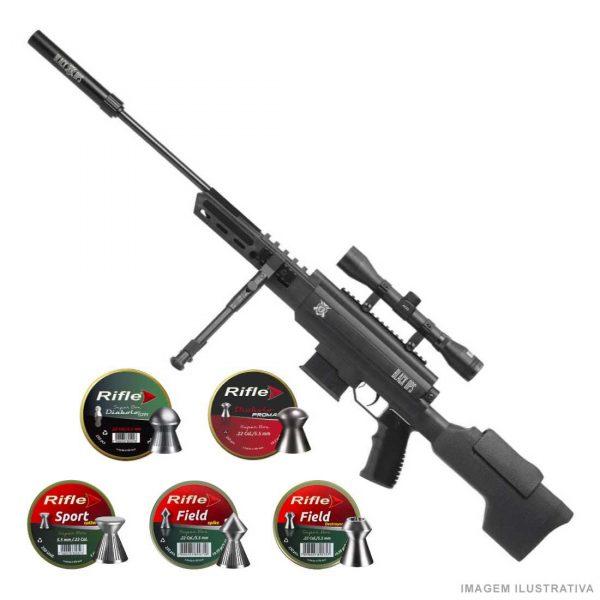 Carabina de Pressão Sniper Black Ops 5,5mm Gás Ram + Chumbinhos
