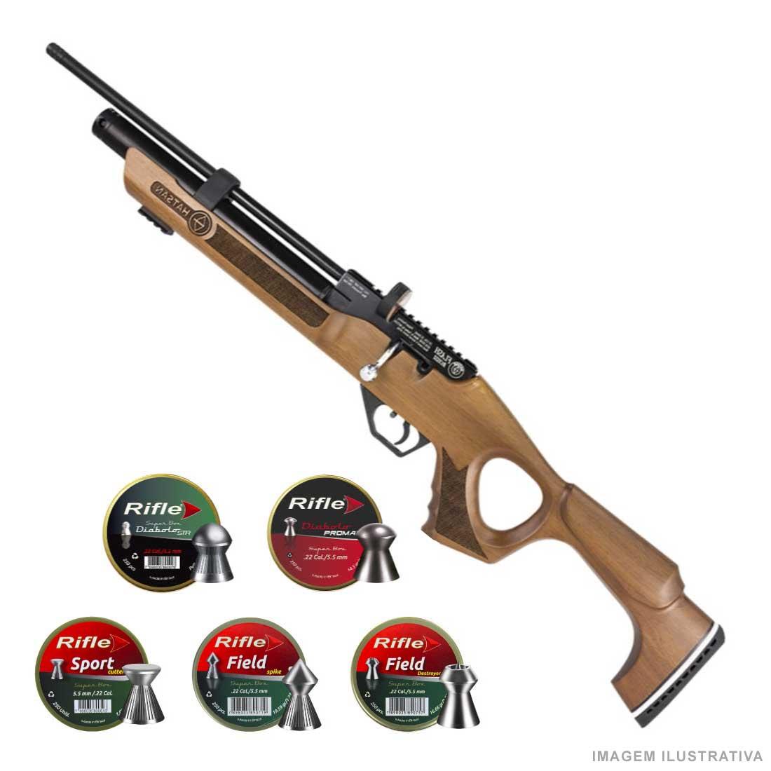 Carabina PCP Hatsan Flash Wood 5,5mm .22 + Chumbinhos