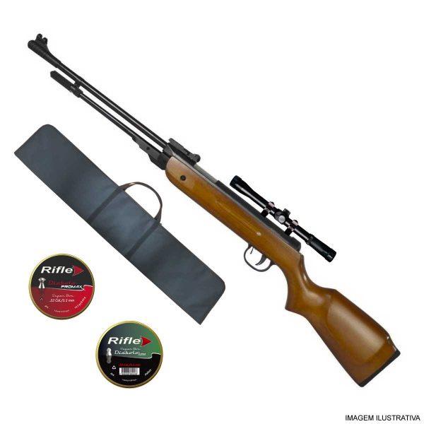 Carabina de Pressão Fixxar Nitro West 5,5mm .22 Madeira + Luneta