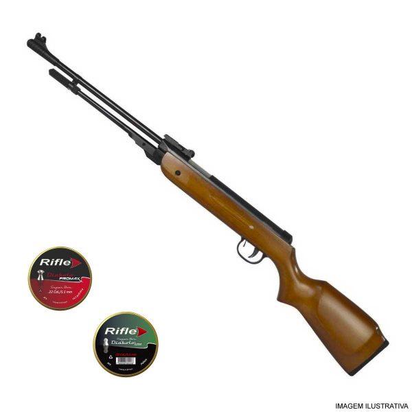 Carabina de Pressão Fixxar Nitro West 5,5mm .22 Madeira + Chumbinhos