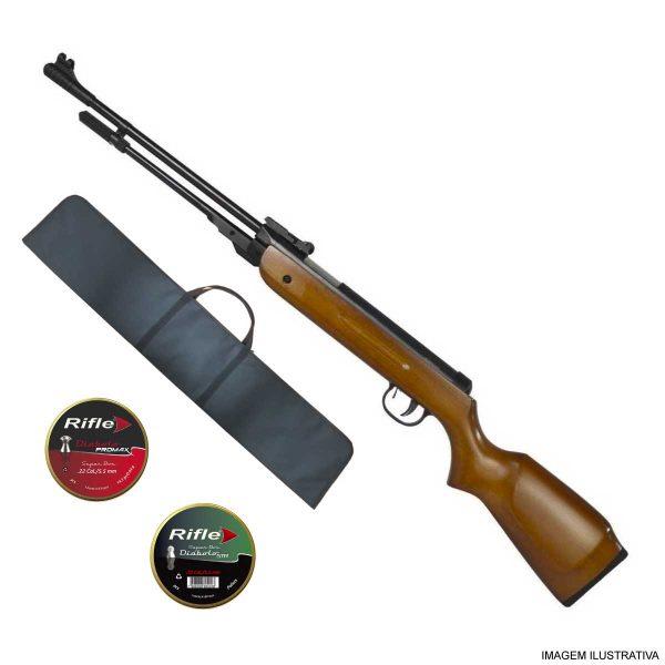 Carabina de Pressão Fixxar Nitro West 5,5mm .22 Madeira + Capa