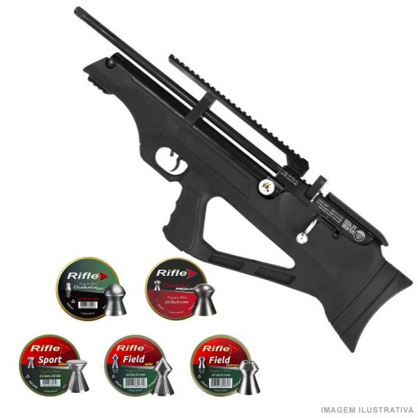 Carabina PCP Hatsan FlashPup Black 5,5mm + Chumbinhos