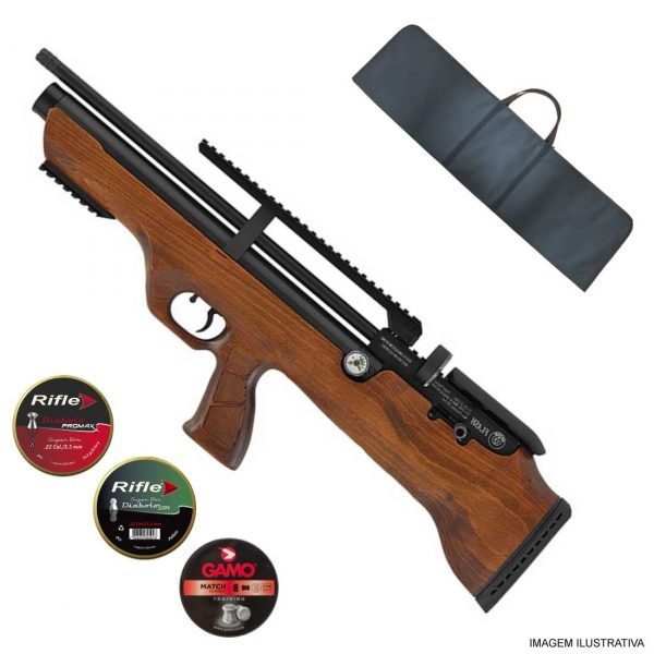 Carabina PCP Hatsan FlashPup Wood 5,5mm .22 + Capa