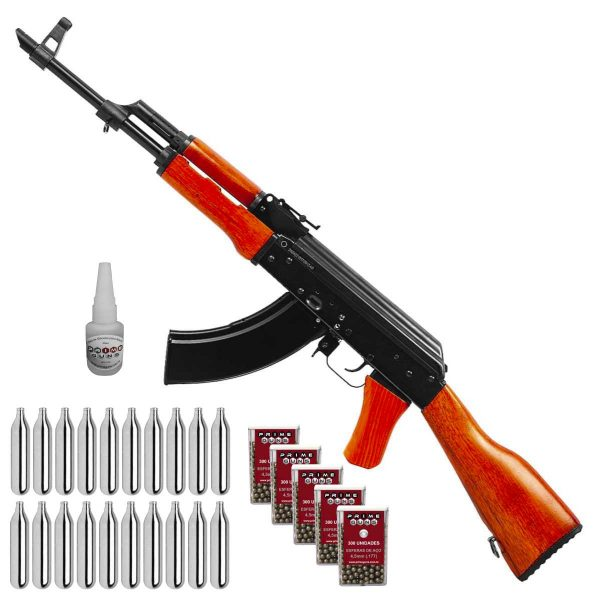 Rifle Ak 47 Co2 Kalashnikov Airgun 4,5mm Full Metal Kit