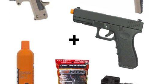 Kit Micro Roni CAA + Glock G18 HFC + Green Gás + BBs + Lanterna