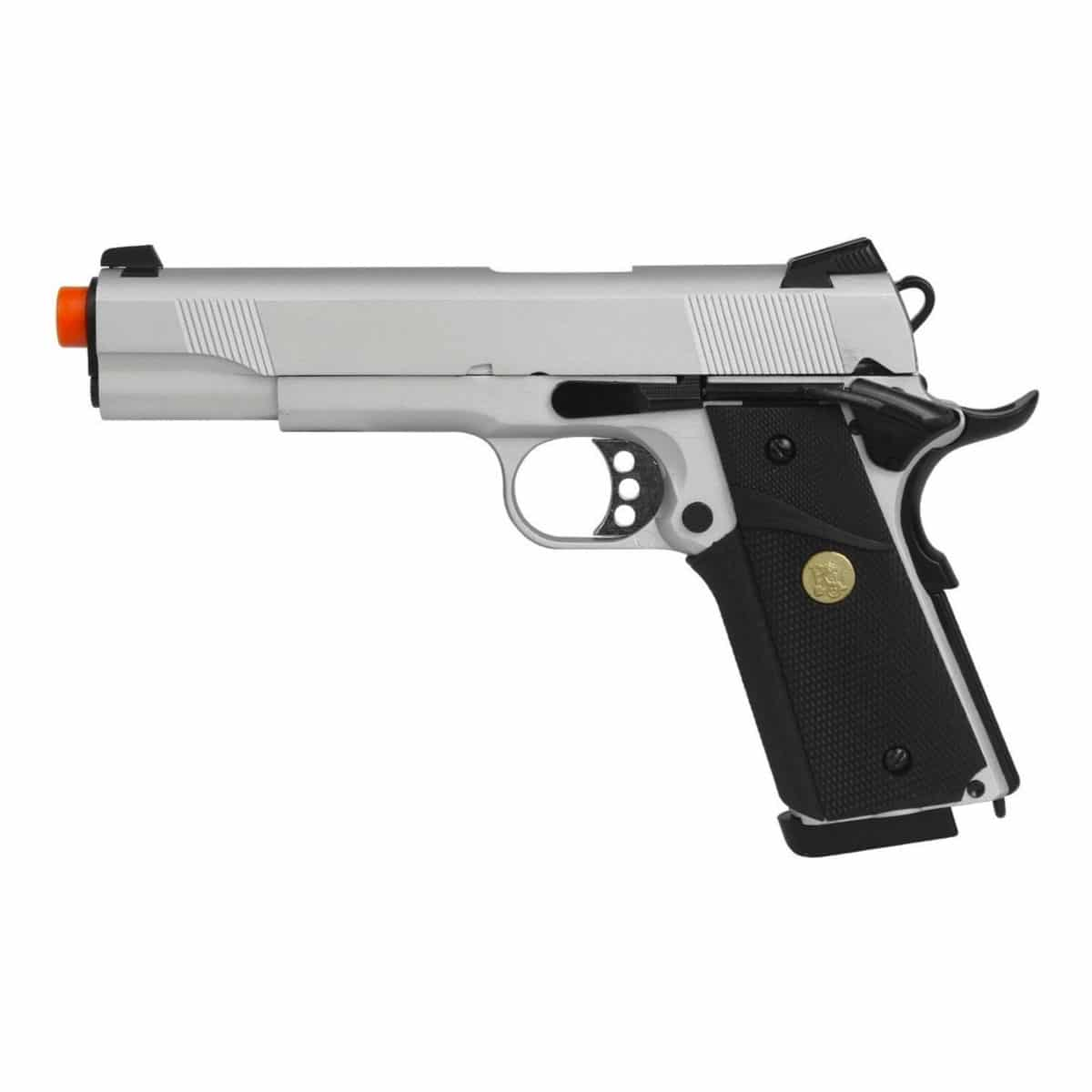 Pistola Airsoft 1911 Silver Double Bell GBB Blowback Metal