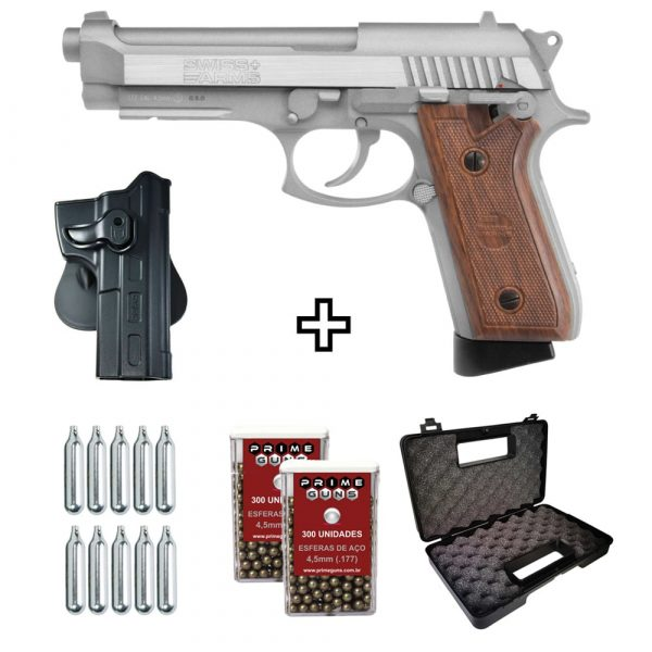 Pistola SA92 Swiss Arms Co2 Blowback Full Metal 4,5mm + Coldre