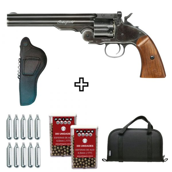 Revólver Airgun Schofield Black Wood Co2 Full Metal + Coldre