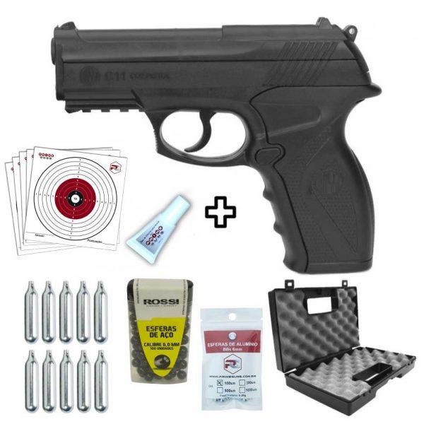Pistola C11 6mm Airgun Co2 + Maleta + Esferas Aço e Alumínio