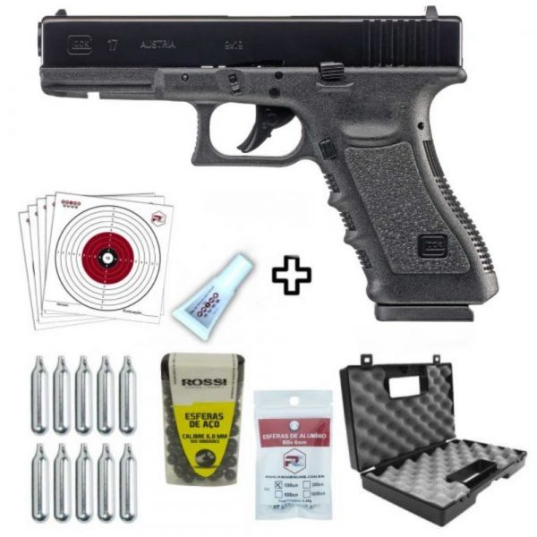 Pistola Airgun Glock G17 CO2 Blowback Umarex 6mm Kit