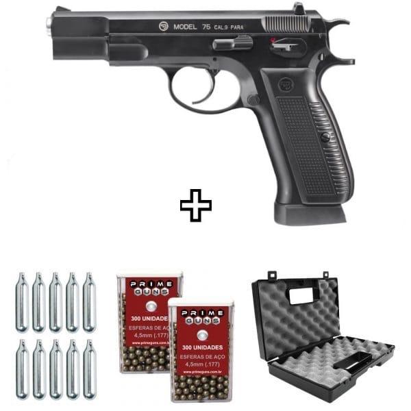 Pistola CZ 75 ASG Airgun Blowback Full Metal 4,5mm Co2 Kit