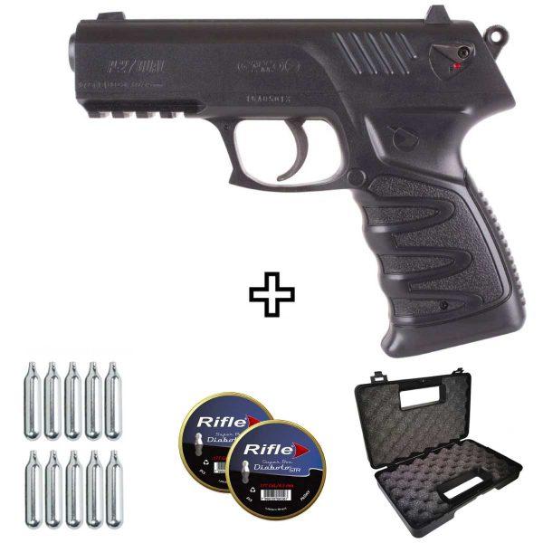 Pistola de Chumbinho Gamo P27 4,5mm .177 Co2 Kit