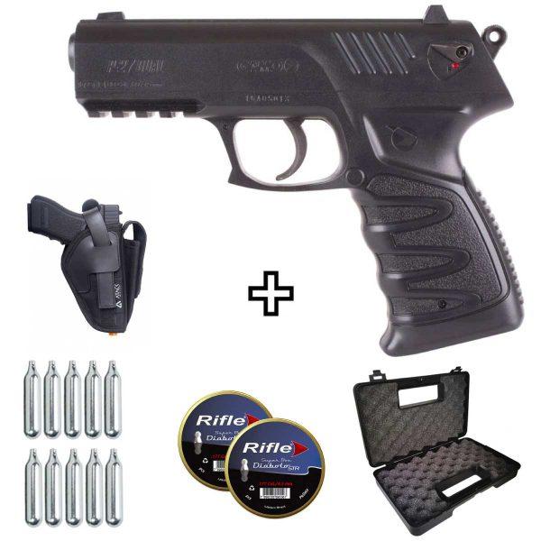 Pistola de Chumbinho Gamo P-27 4,5mm .177 Co2 + Coldre