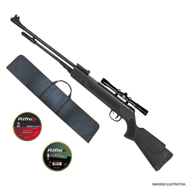 Carabina Fixxar Nitro Black 5,5mm .22 + Chumbinhos + Luneta + Capa