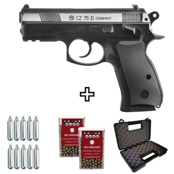 Pistola Airgun CZ 75D Compact Dual Metal Co2 4,5mm + Coldre