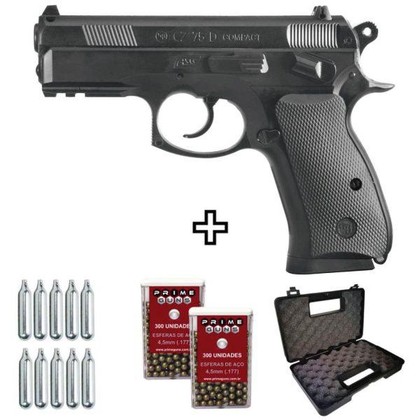 Pistola Airgun CZ75D Compacta Co2 4,5mm .177 Kit