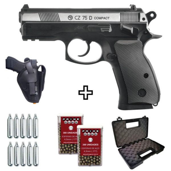 Pistola Airgun CZ 75D Compact Dual Metal Co2 4,5mm + Coldre