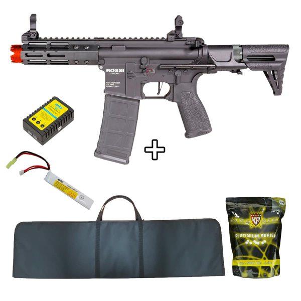 Rifle Neptune PDW 5.5″ M4 Metal 6mm + Bateria + Capa + BBs